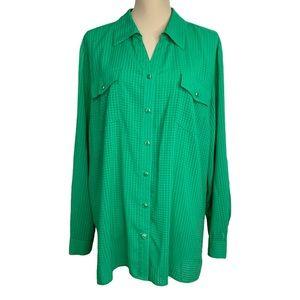 Elementz Button down Top Sz XL Green Long Sleeves